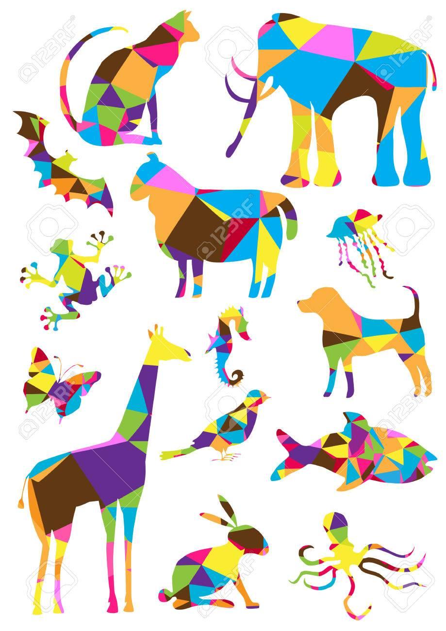 Colección Color De Los Animales Geométricos De Polígonos ...