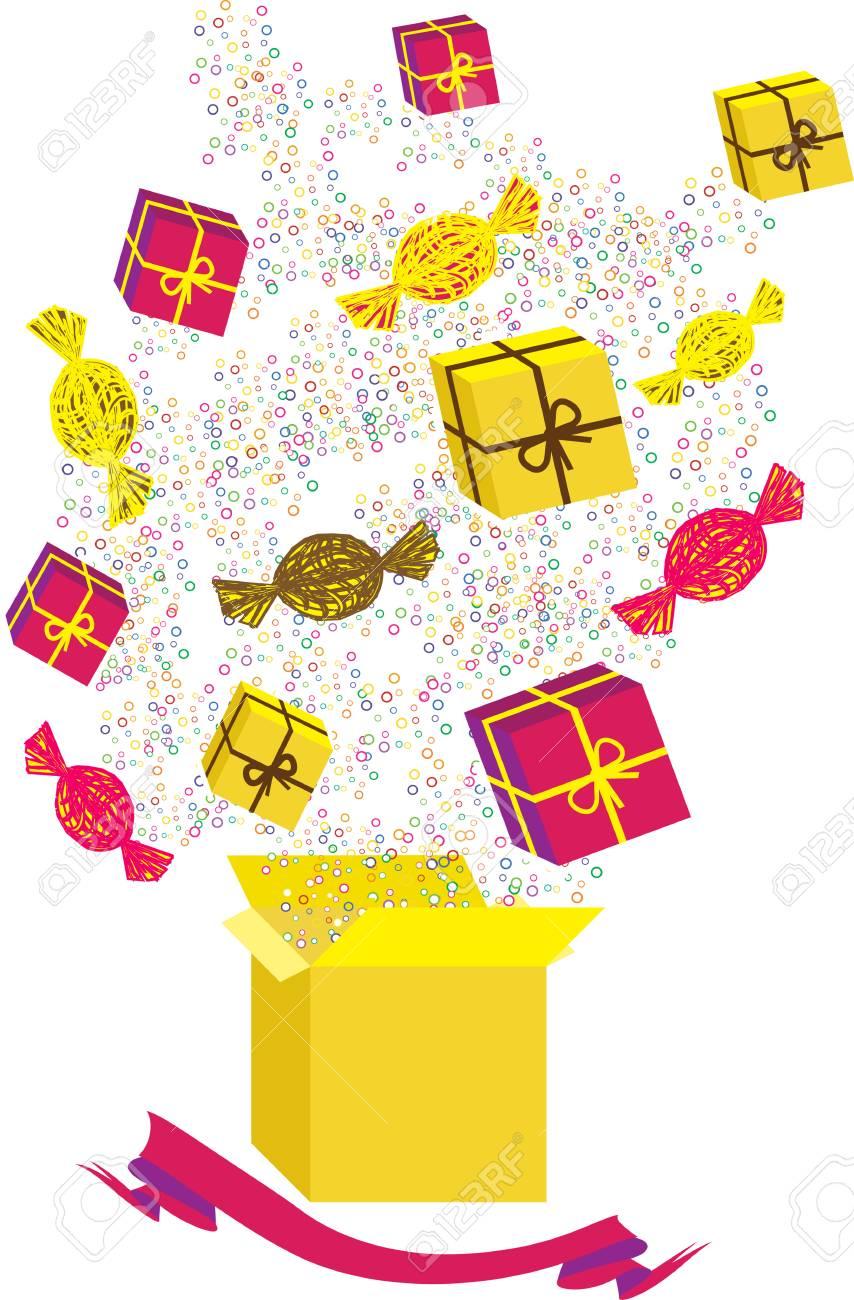 今回の箱やお菓子のイラストのイラスト素材 ベクタ Image