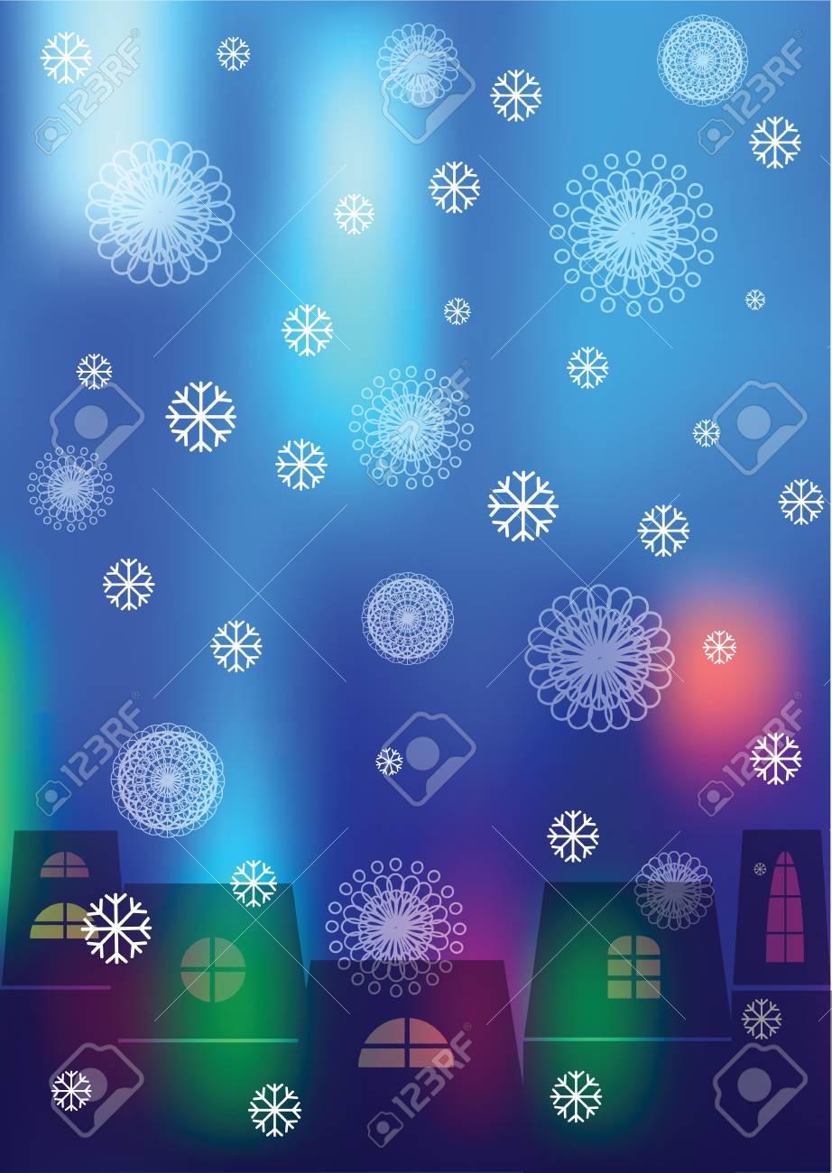 家のシルエットとぼやけて背景に雪の冬イラスト