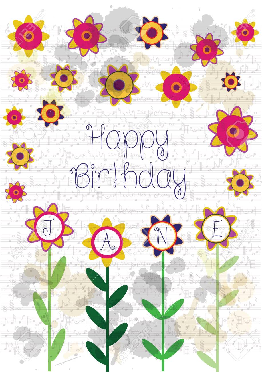 Colorful Happy Birthday Card With Flowers And Name Jane Stock Vector