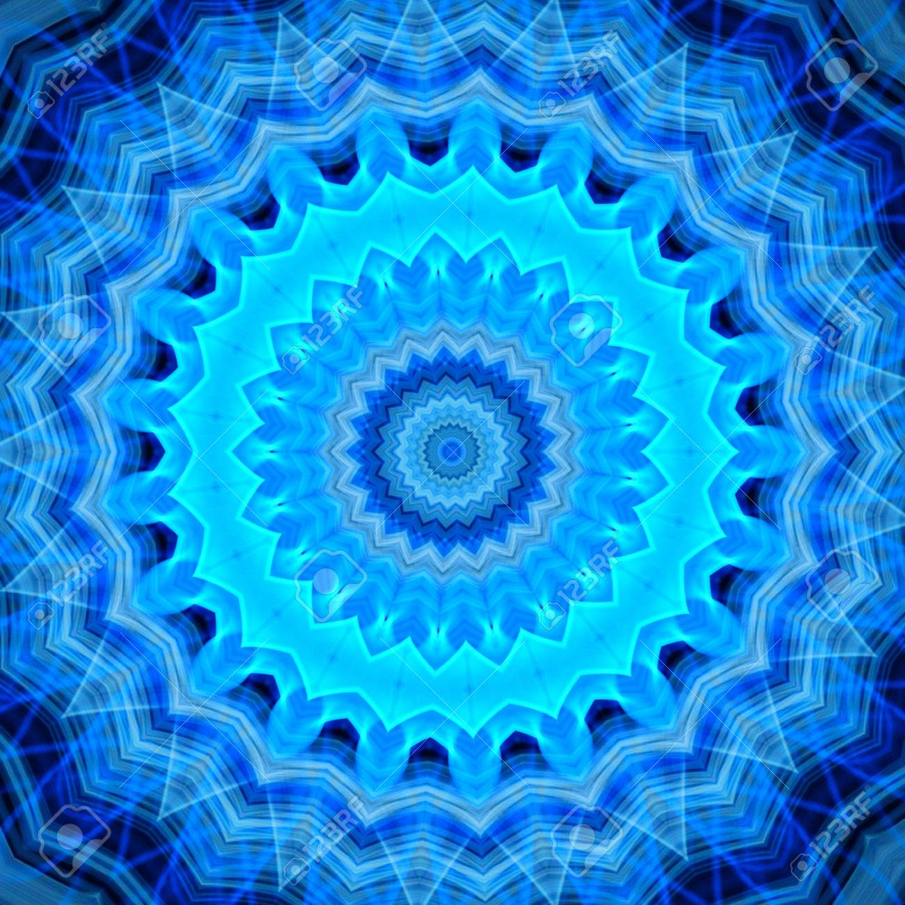 abstract blue flames fractal mandala background stock photo picture