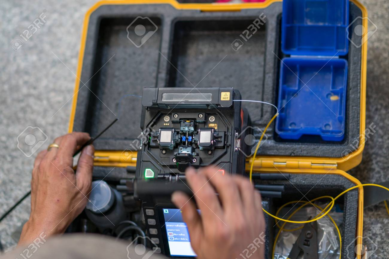 Fiber Optic Fusion Splicer At Home Filber Stock Photo Wiring 97021738