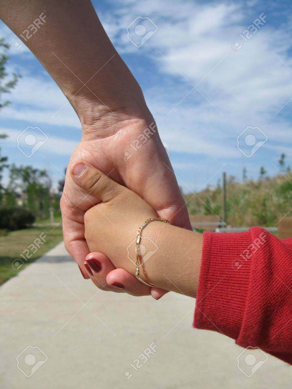 Mom and his young son holding hands Stock Photo - 969262