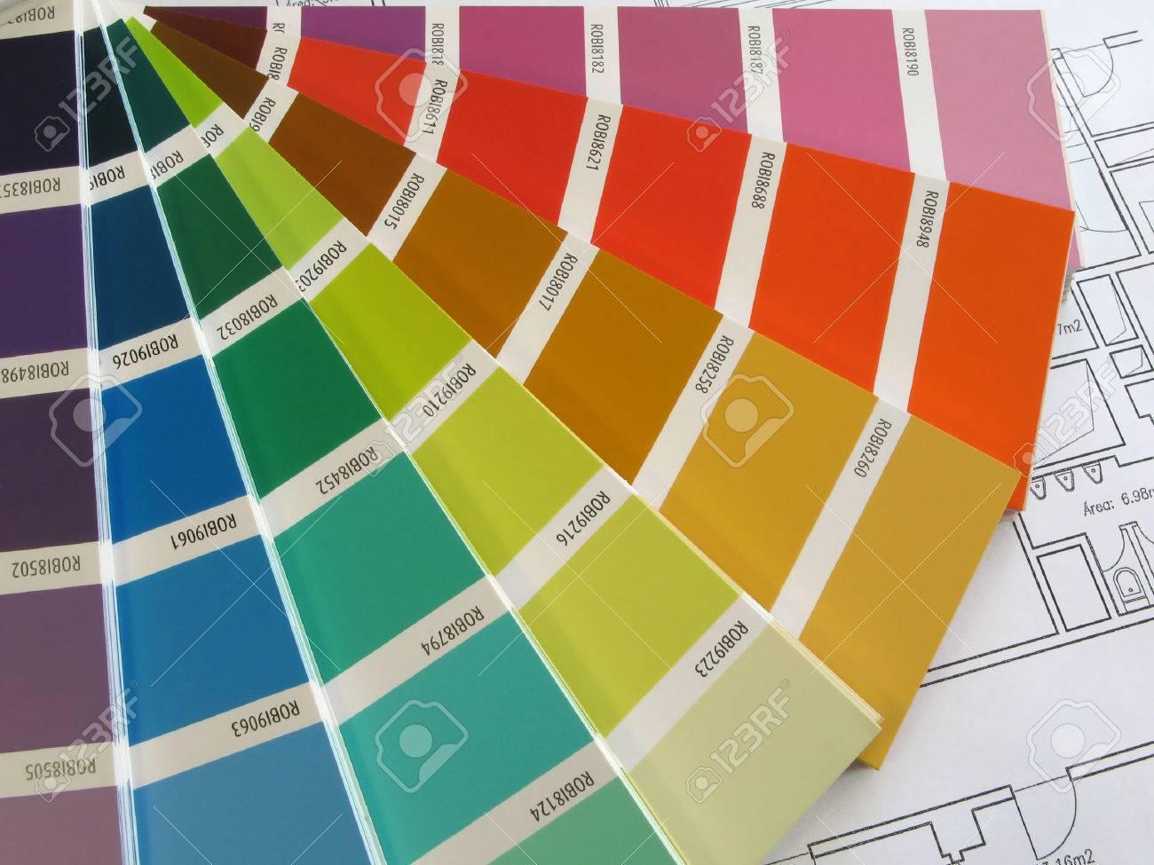Farbmuster Für Die uswahl Mit Haus-Plan uf Den Hintergrund ... size: 1300 x 975 post ID: 5 File size: 0 B