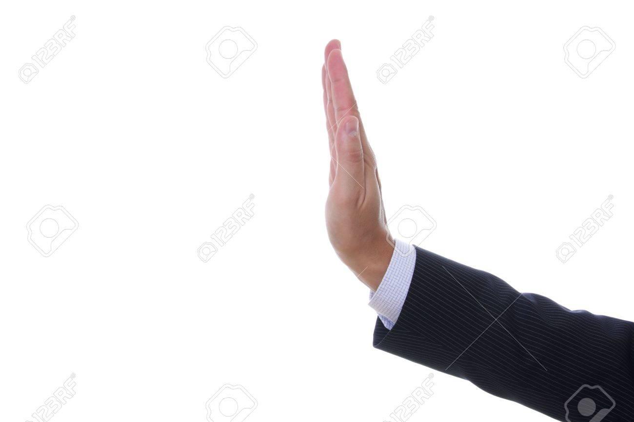 f9220dacea1b Foto de archivo - Ver a un hombre de la mano de señalización de parada  aisladas sobre fondo blanco