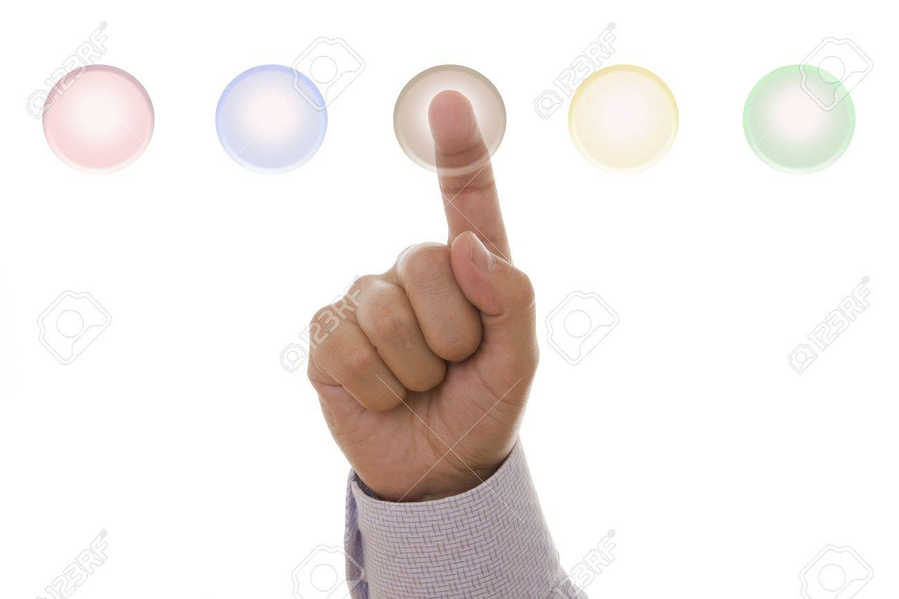 Detail of a male hand pressing a hi-tech button Stock Photo - 3702957