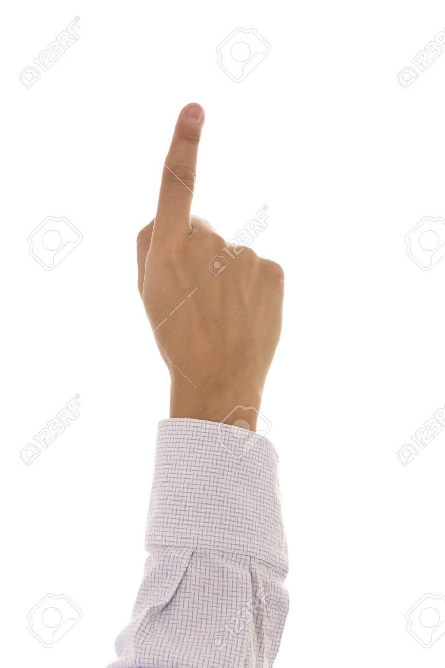 Finger pressing something isolated on white background Stock Photo - 3874686