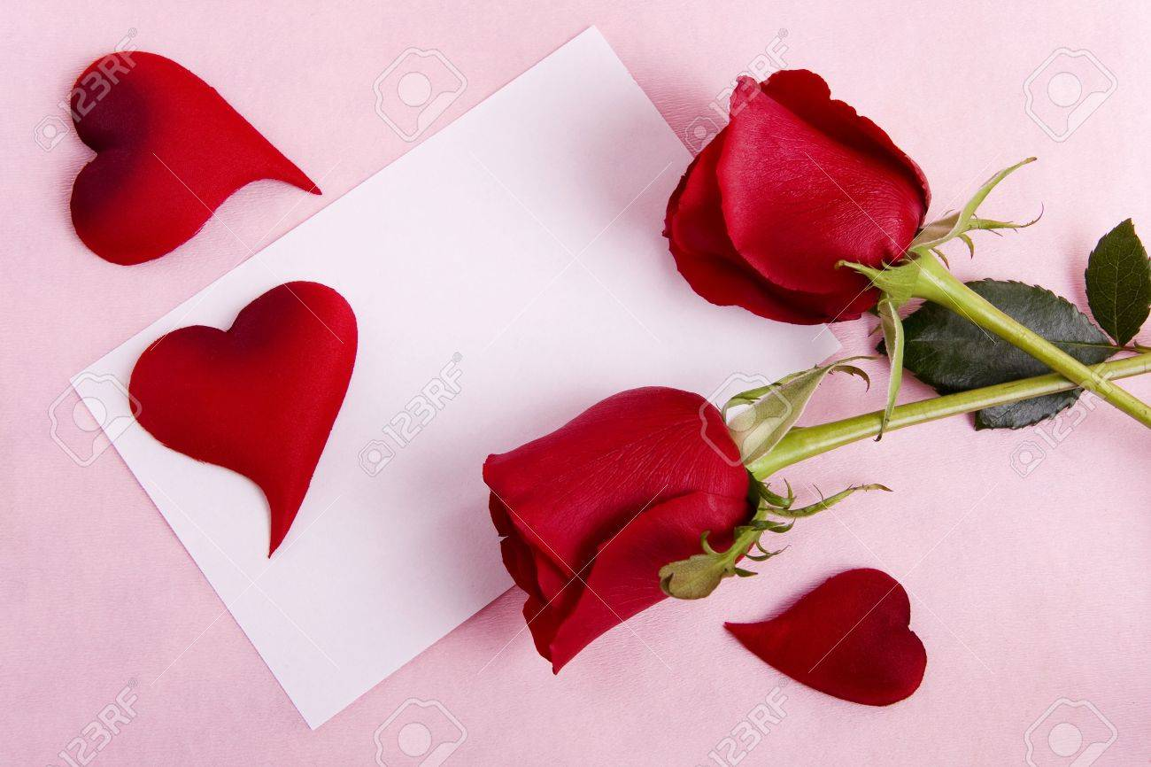 valentine concept card with space for text with roses and hearts