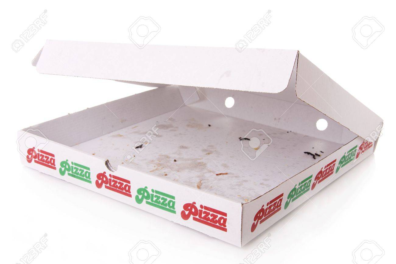 A Empty Pizza Box Isolated On White Stock Photo, Picture And ...