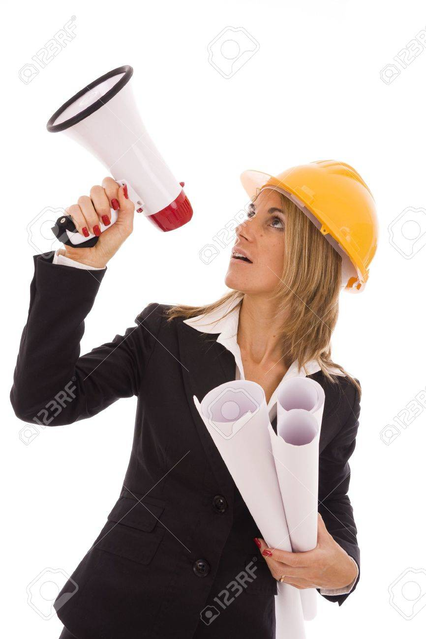 An architect giving orders with a megaphone Stock Photo - 5596960