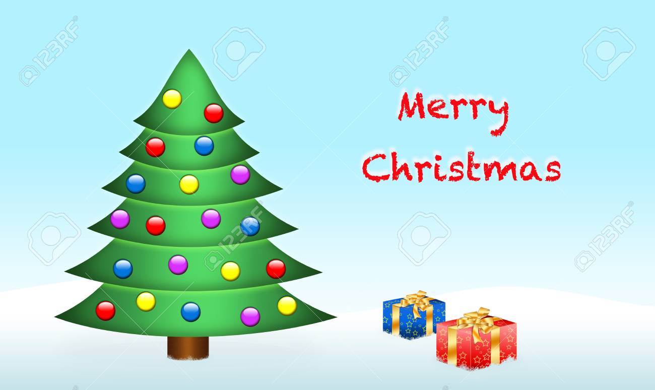 Colorful christmas tree and two presents boxes Stock Photo - 16798136