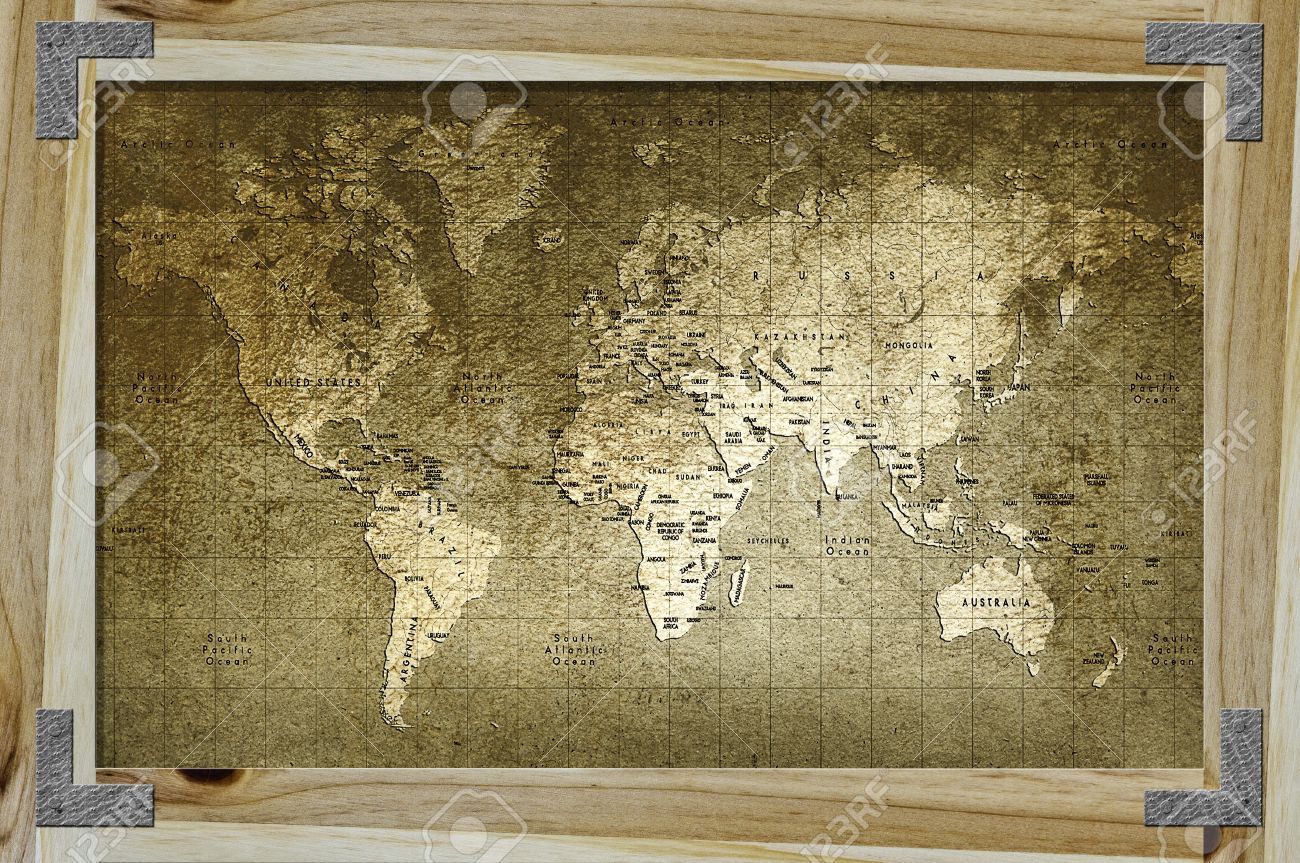 old world map with great texture and amazing colors in wood frame stock photo 10273077