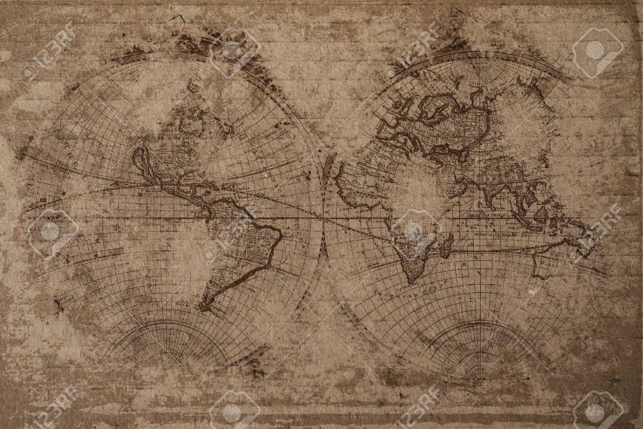 Old World Map With Great Texture And Amazing Colors Stock Photo   10428149