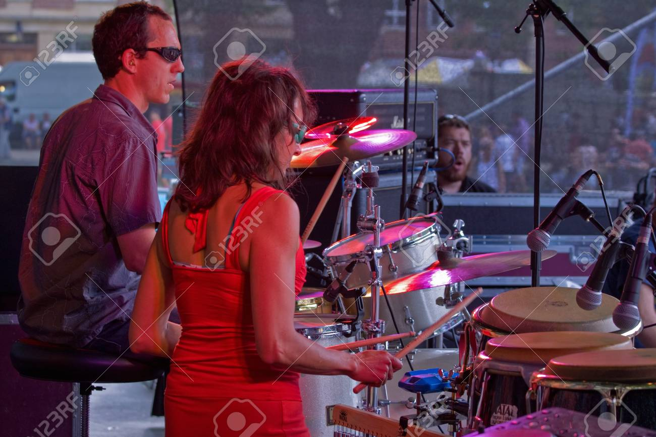 Bristol, England - July 31, 2011 - Percussionists on stage at the 40th annual Harbour Festival attended by an estimated 280,000 people Stock Photo - 10165406