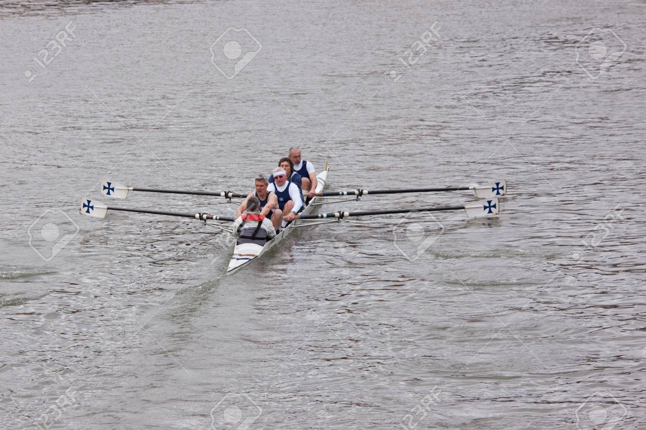 Bristol, England � February 19, 2012 - Senior Crew in the annual Head of the River race through the city docks entered by one hundred teams Stock Photo - 12465846