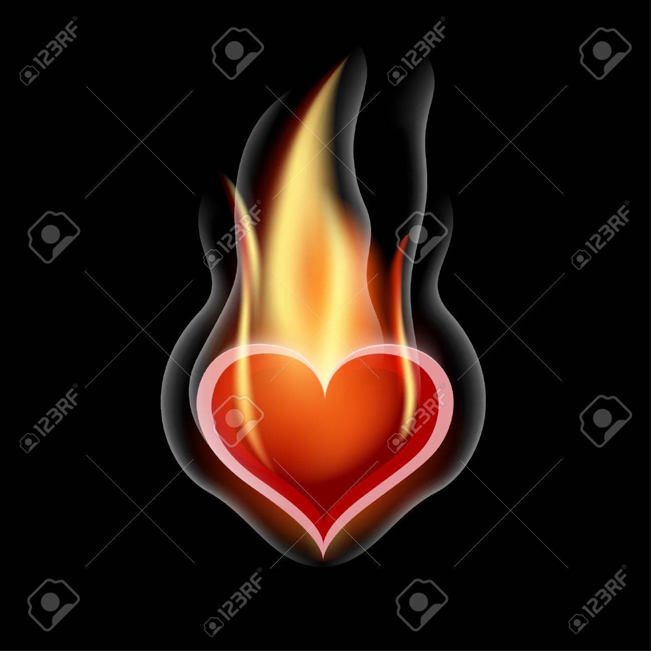 Burning Heart  Illustration for design on black background Stock Vector - 17448986