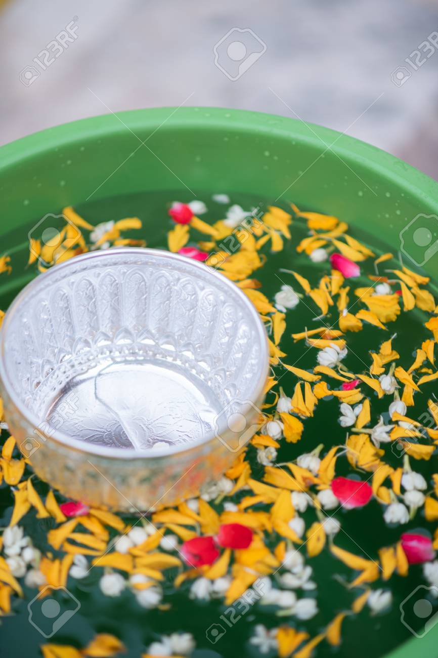 Thai Traditional Colorful Flower In Water Bowls Decorating For