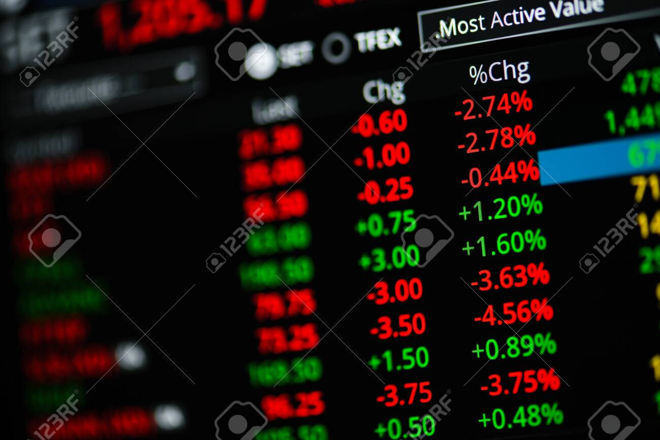 View of Stock Market Crash from Covid-19 Pandemic with shallow depth of field. - 144468994