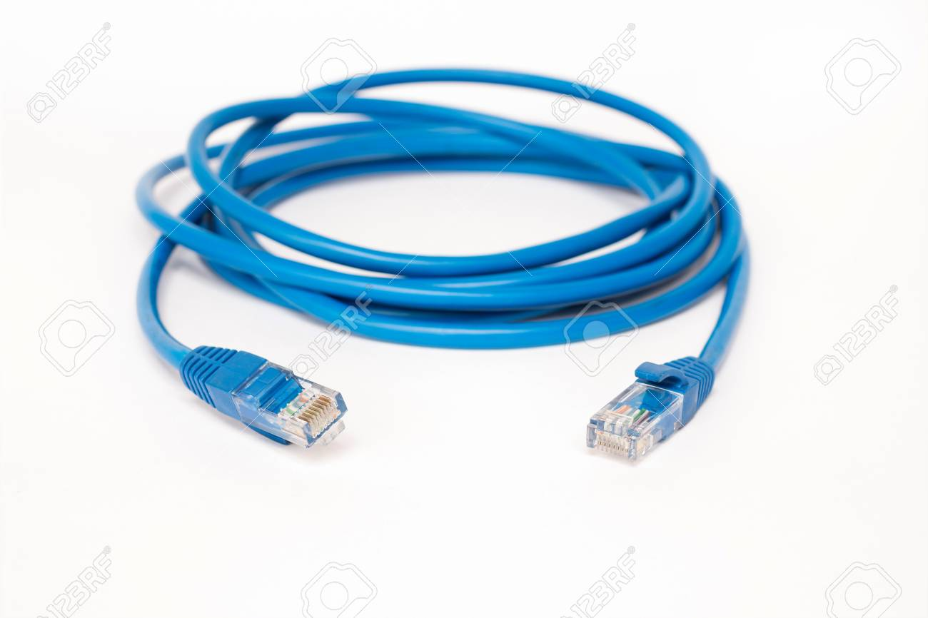 Blue Patchcord With RJ45 Plug Lan Network Stock Photo, Picture And ...