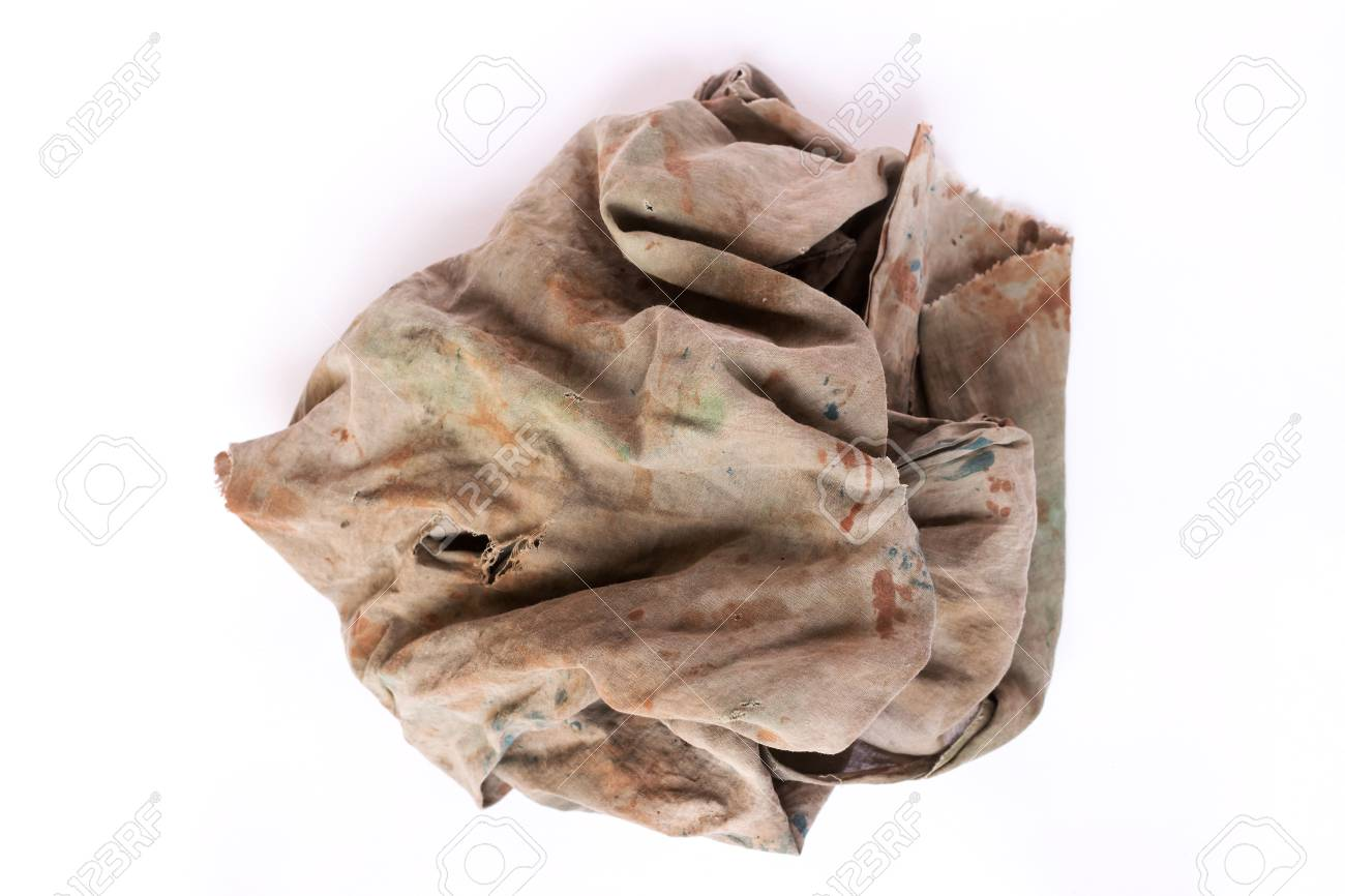 40d91902a584b Dirty Rag Isolated On White Background Stock Photo, Picture And ...