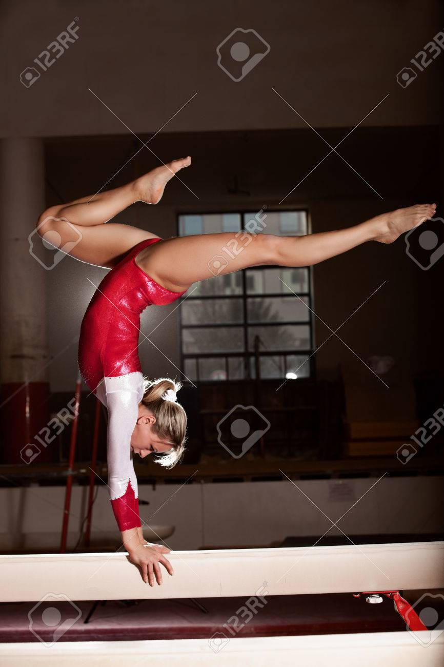 portrait of young gymnasts training in the stadium - 23695929