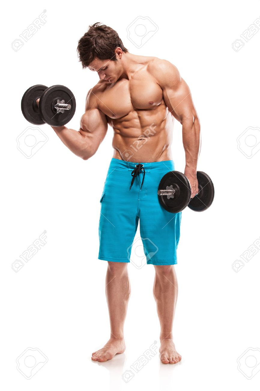 Muscular bodybuilder guy doing exercises with dumbbells isolated over white background - 26372277