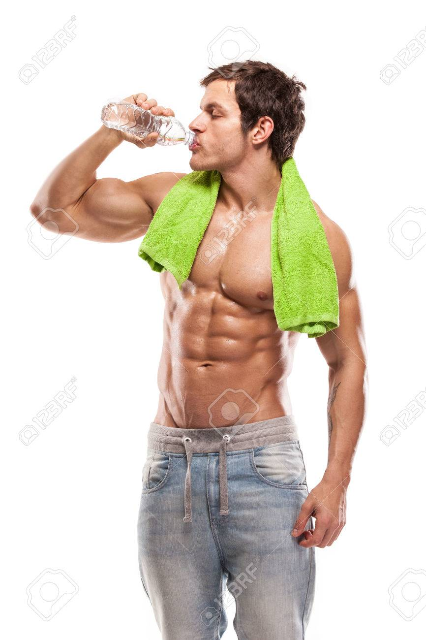 Strong Athletic Man Fitness Model drinking fresh water white background - 27301515