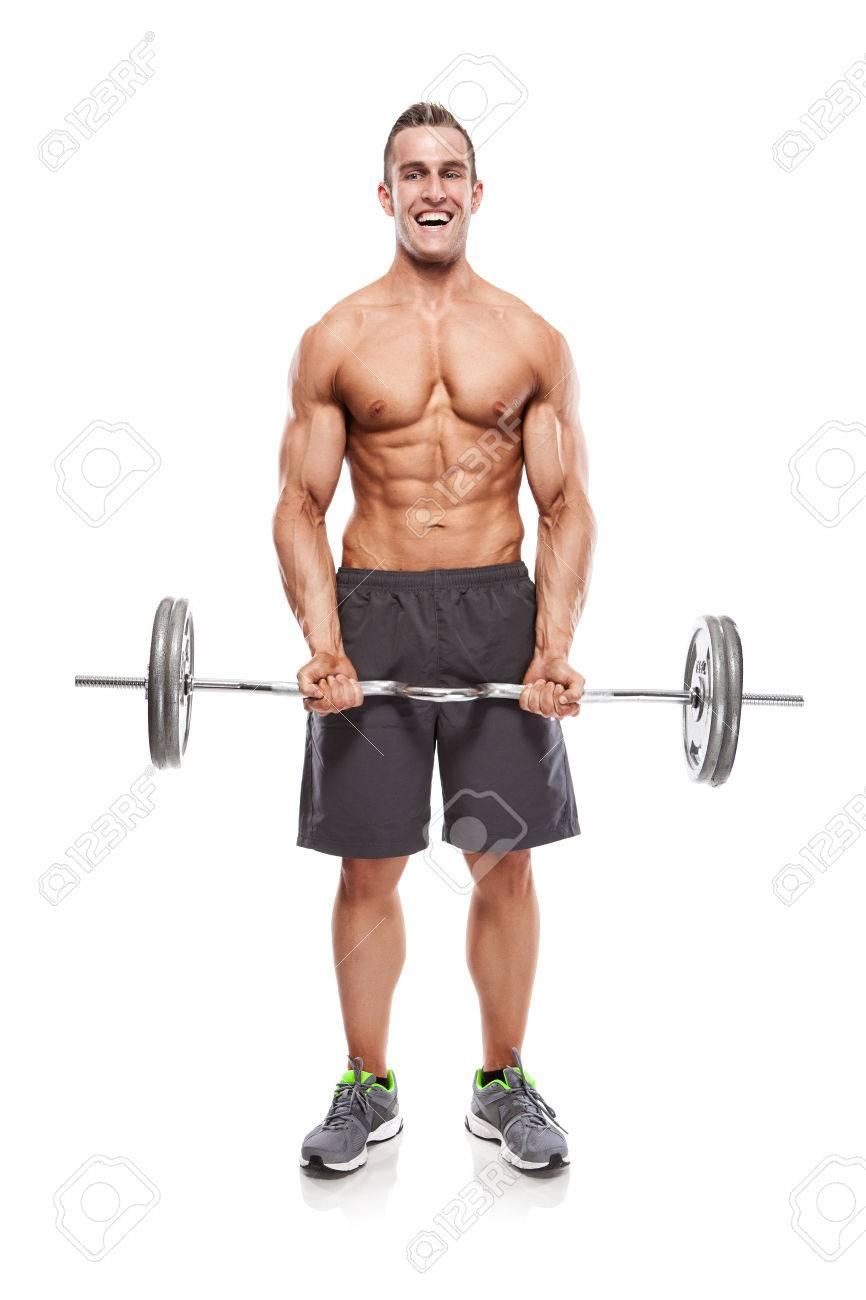 Muscular bodybuilder guy doing exercises with dumbbells over white background - 37584531