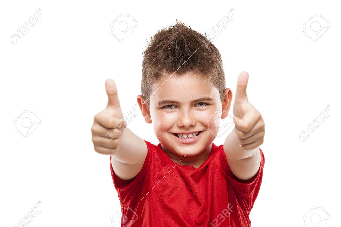 standing young cool boy doing thumbs-up isolated over white background - 40685982