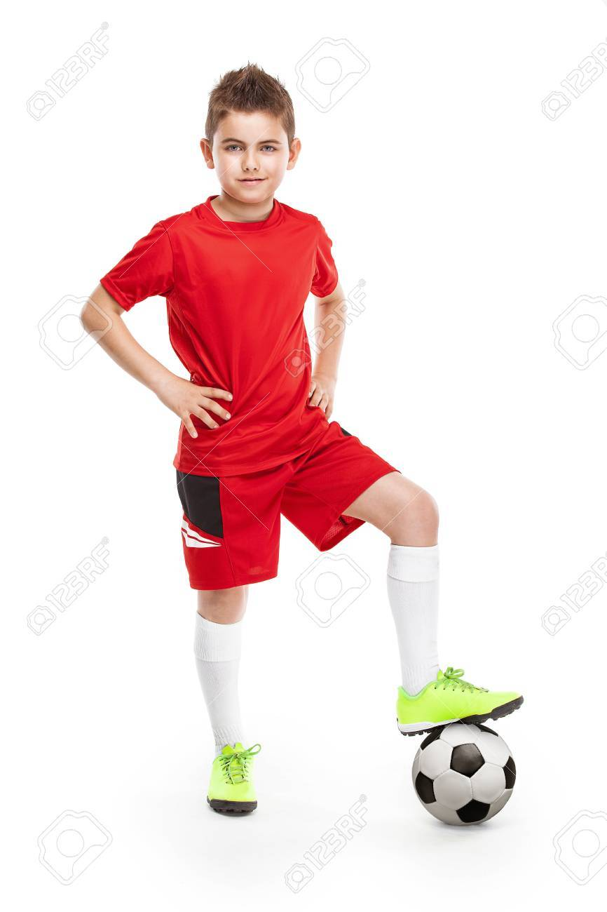 standing young soccer player with football isolated over white background - 40808788