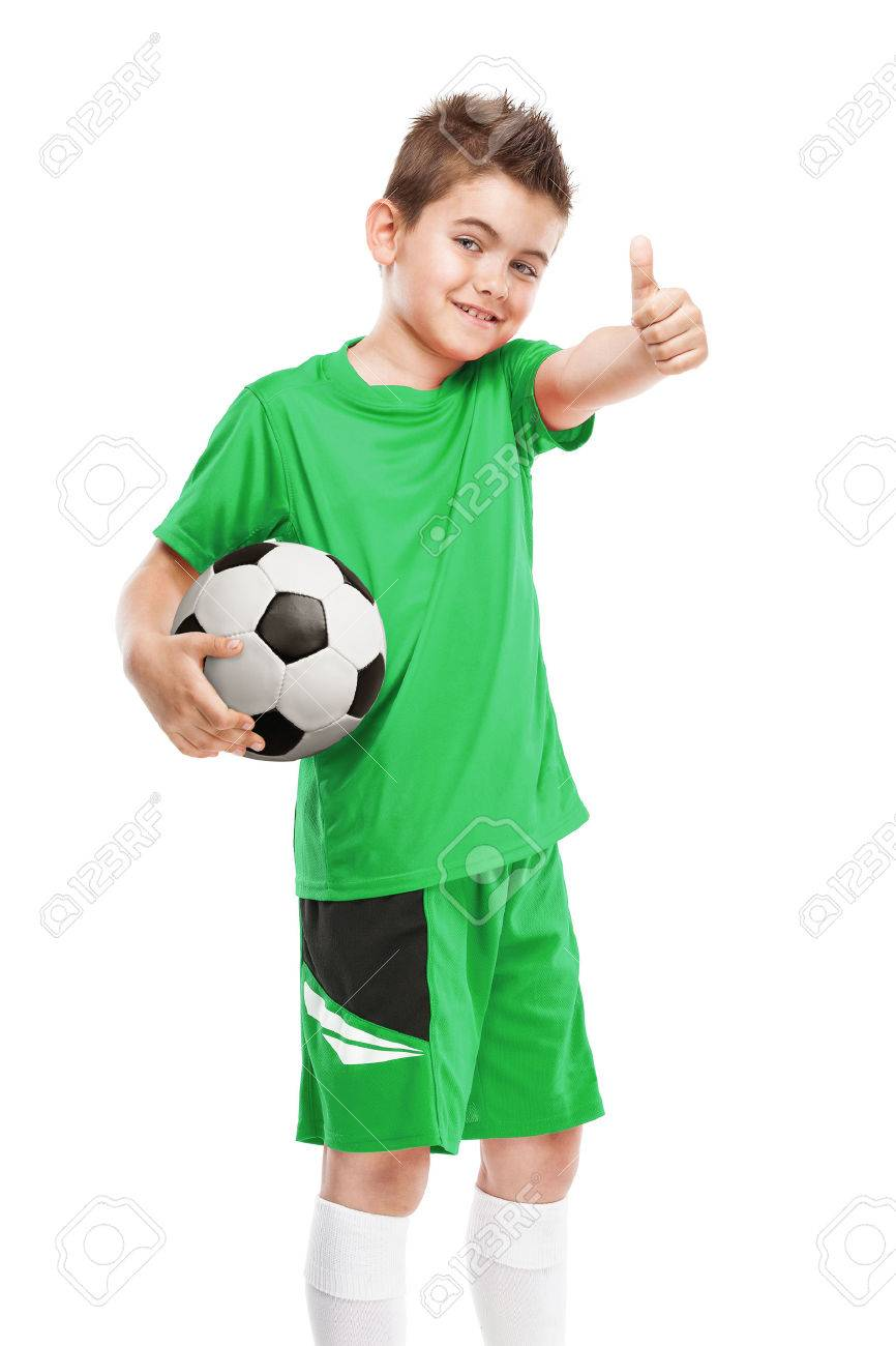 standing young soccer player holding football isolated over white background - 40808808
