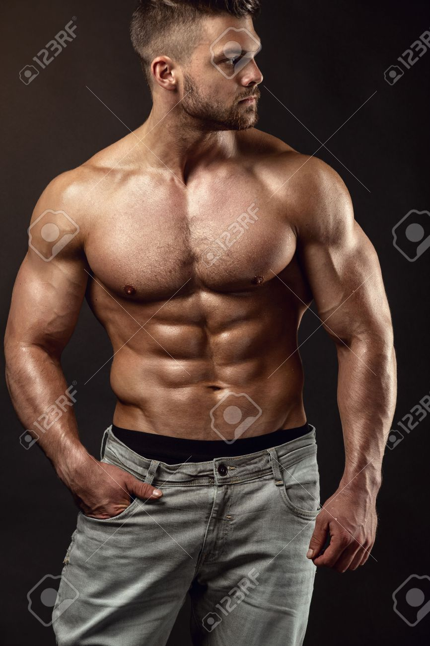 new concept cc9f3 42c94 Strong Athletic Man Fitness Model Torso showing big muscles over..