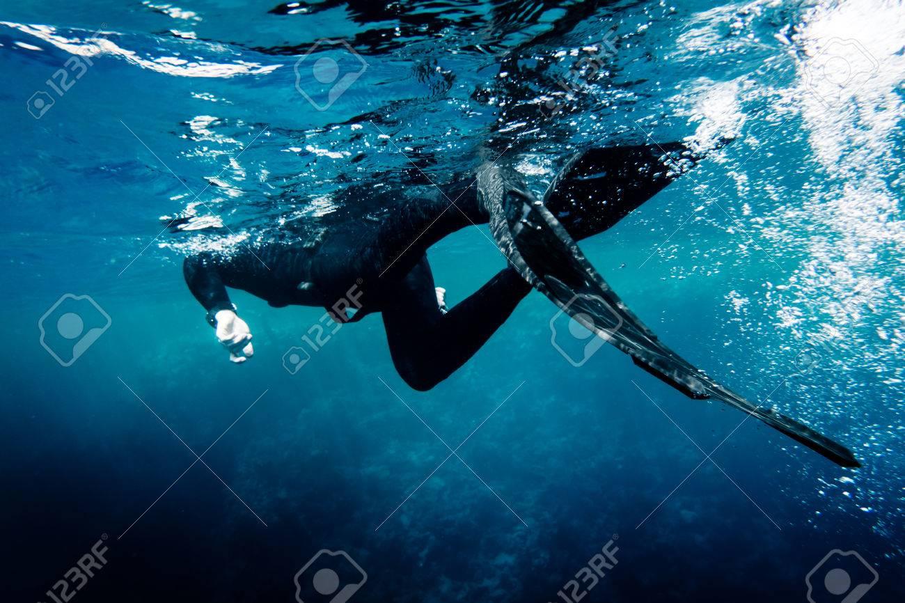 Freediver in wetsuit neoprene swim in the sea - 59981555