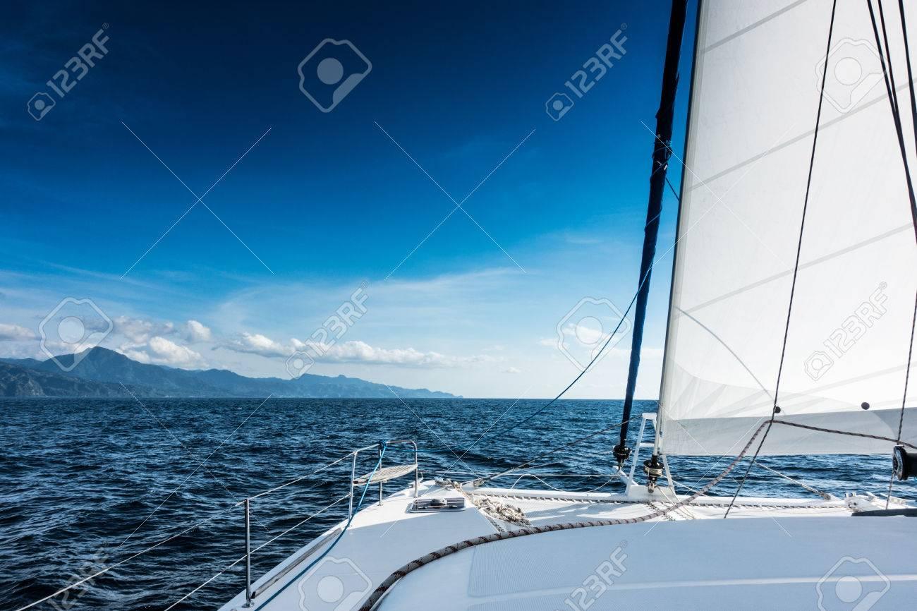 Sailing yacht catamaran sailing in the sea. Sailboat. Sailing in caribbean sea - 74433081