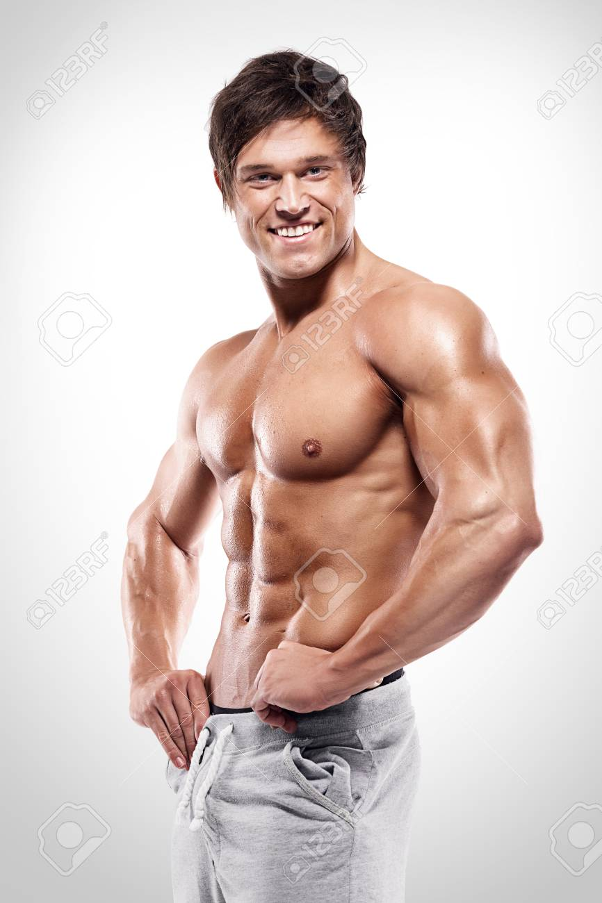 Strong Athletic Man Showing Muscular Body And Sixpack Abs Over