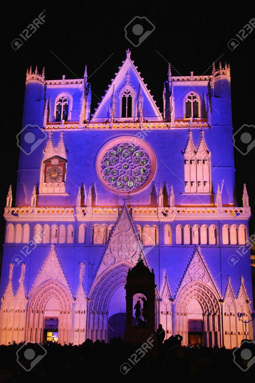 LYON, FRANCE - DECEMBER 8 : The annual Festival of Lights takes place in the monuments of the city of Lyon, on December 8, 2011 in Lyon, France - 11542356