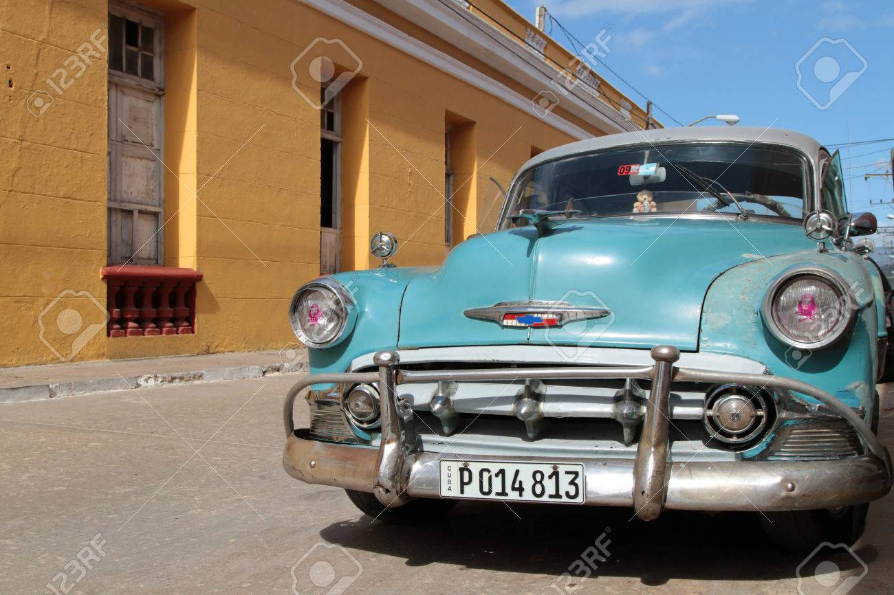 TRINIDAD, CUBA, FEBRUARY 18, 2014 Classic Old American Car.. Stock ...