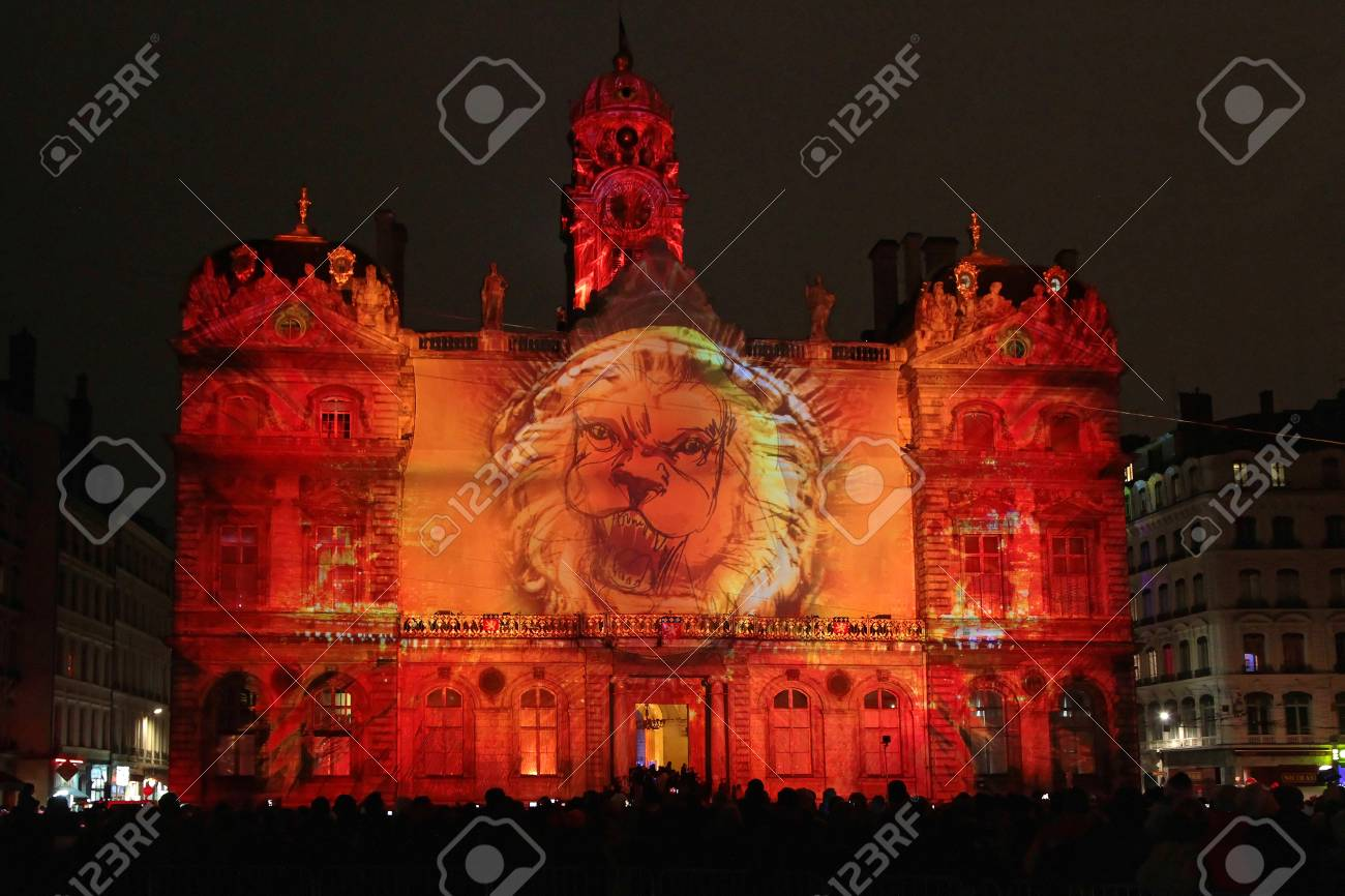 LYON, FRANCE, December 5, 2014 : Festival of lights of Lyon is the main place of creation and demonstration of the lighting engineers, the designers, the visual artists. More than 4 millions people visit the event on December each year. - 34360792