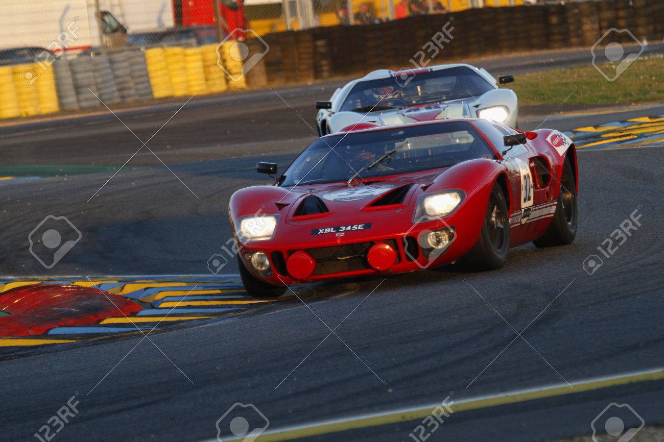 LE MANS, FRANCE, July 9, 2016: Two Ford GT40 Race During Le Mans ...