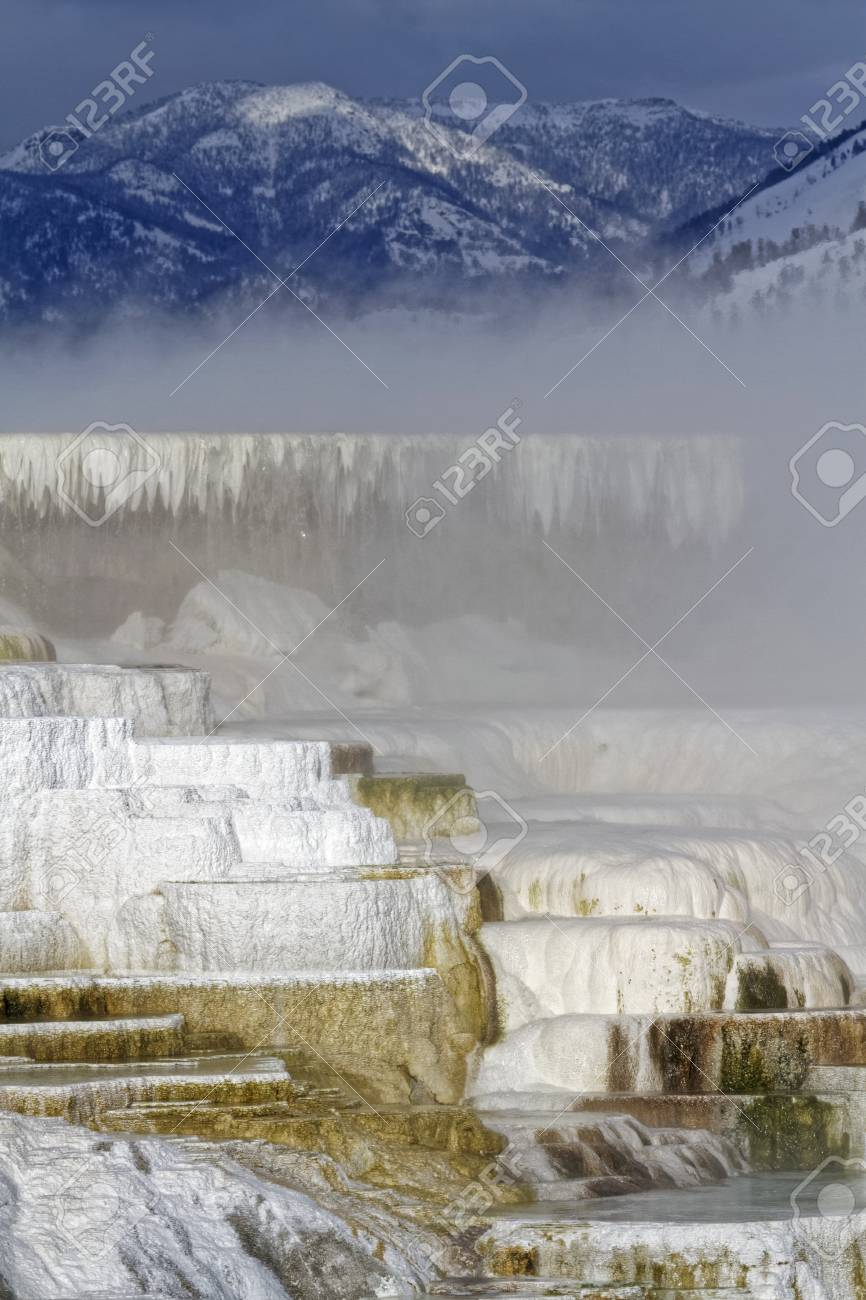 Mammoth Hot Springs Winter Landscape Yellowstone National Park