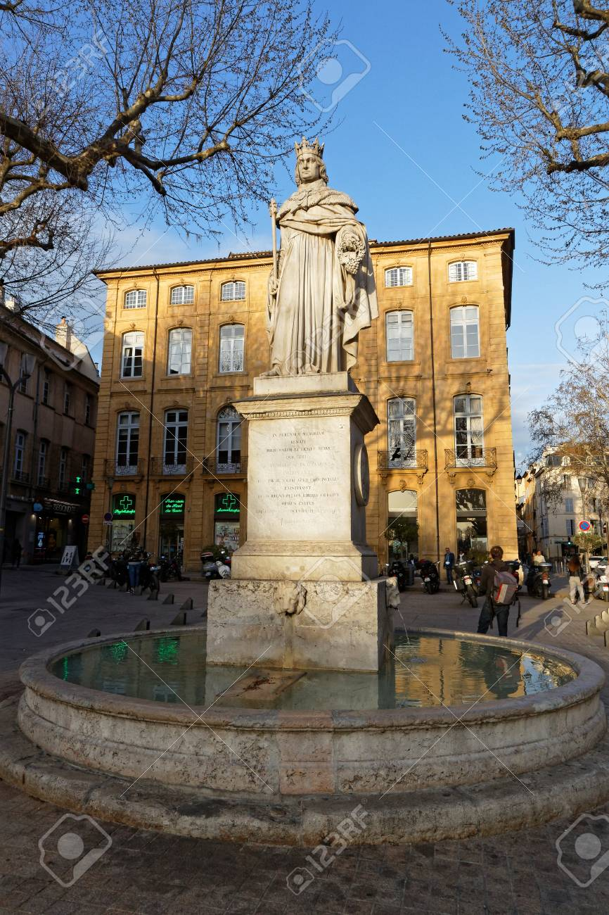 Stone Aix En Provence aix-en-provence, france, april 6, 2018 : at east end of cours..