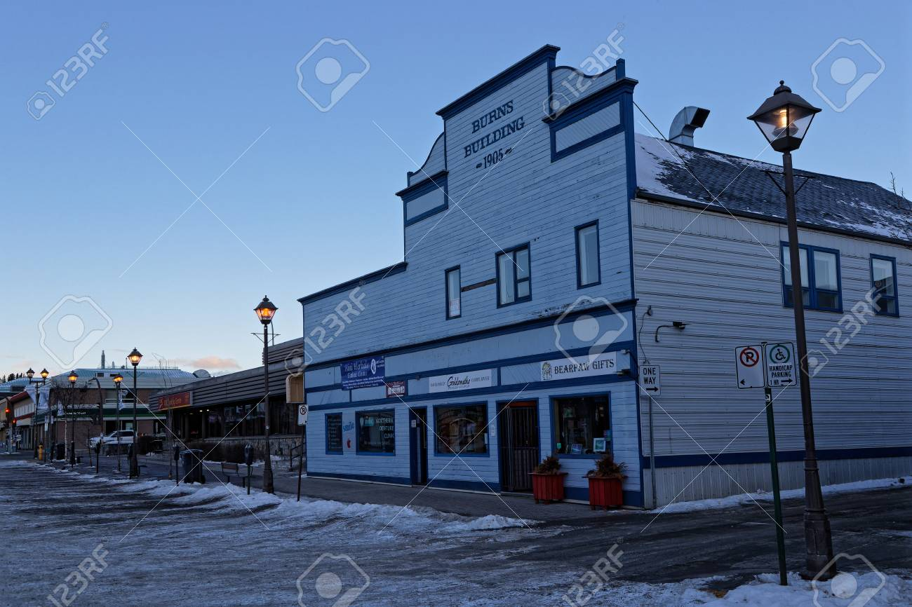 Whitehorse Yukon Canada March 9 2019 Old Building At Dawn Stock Photo Picture And Royalty Free Image Image 119860487