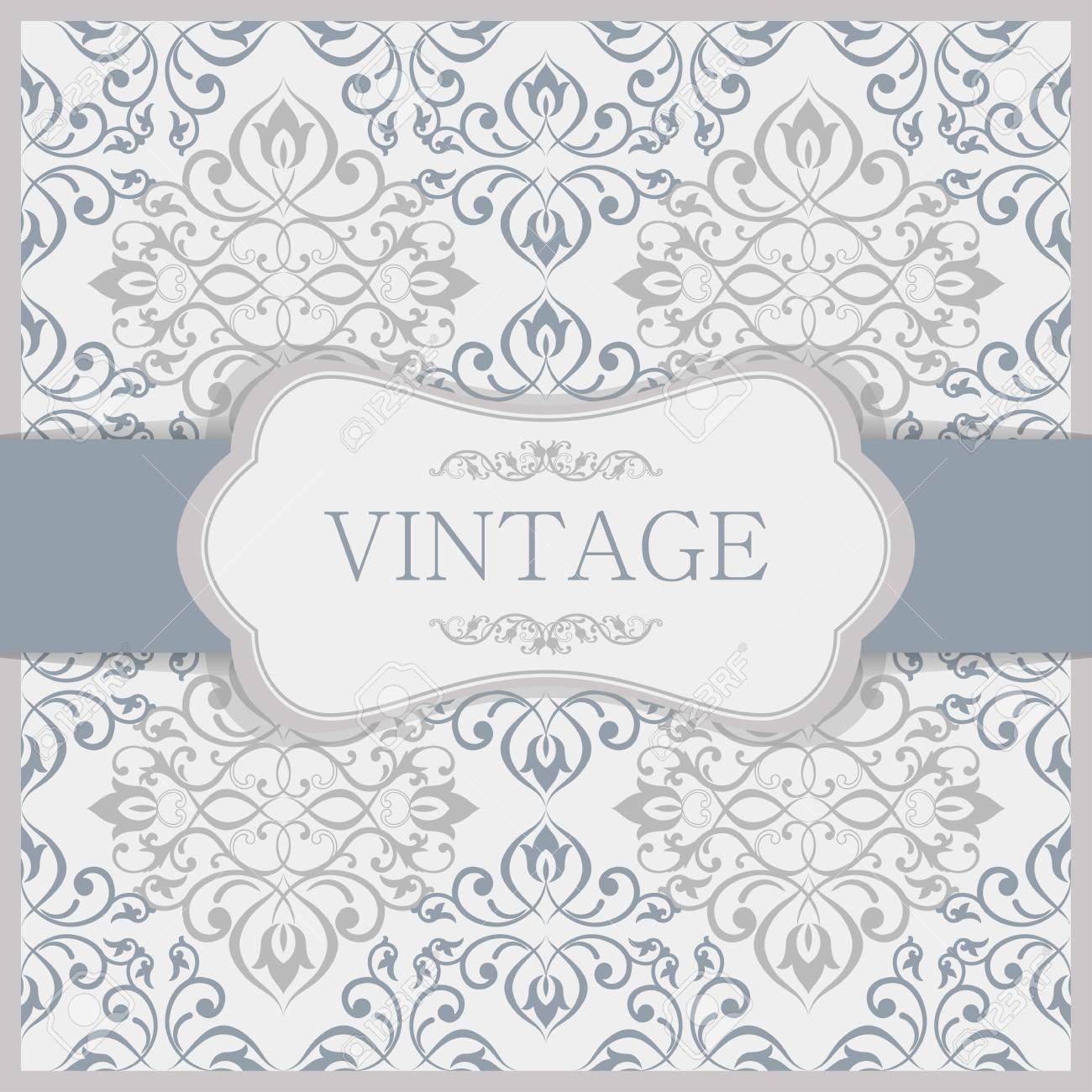 Tarjeta De Invitación Vintage Con Patrón Victoriano