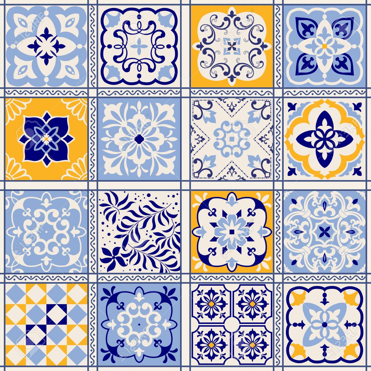 Seamless colorful patchwork in turkish style. Hand drawn background. Azulejos tiles patchwork. Portuguese and Spain decor. Islam, Arabic, Indian, ottoman motif. Perfect for printing on fabric or paper - 150858155