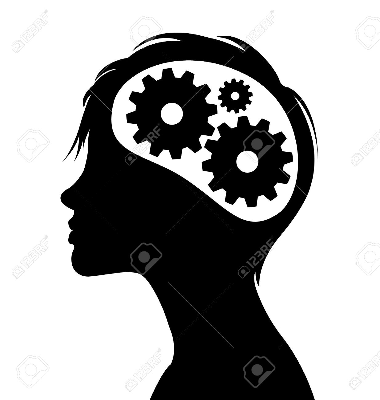Woman silhouette with thinking brain gears in her head Stock Vector - 11294412