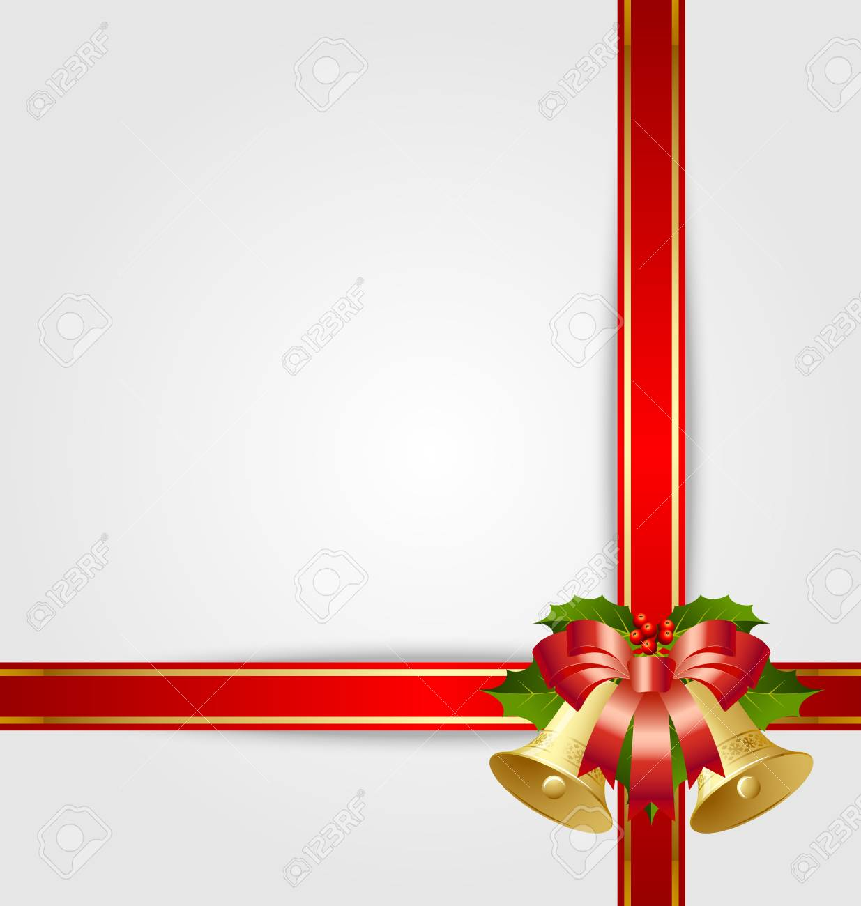 Christmas gift ribbon with decoration Stock Vector - 11294454