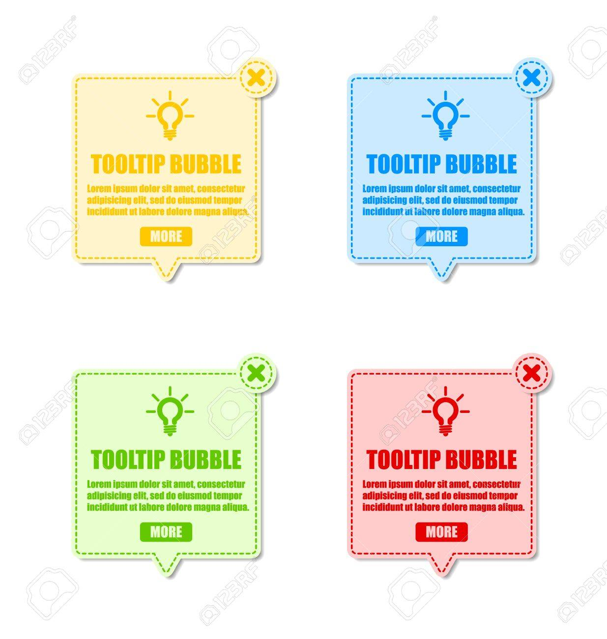 Tooltip design elements with lightbulb and closing cross Stock Vector - 11660148