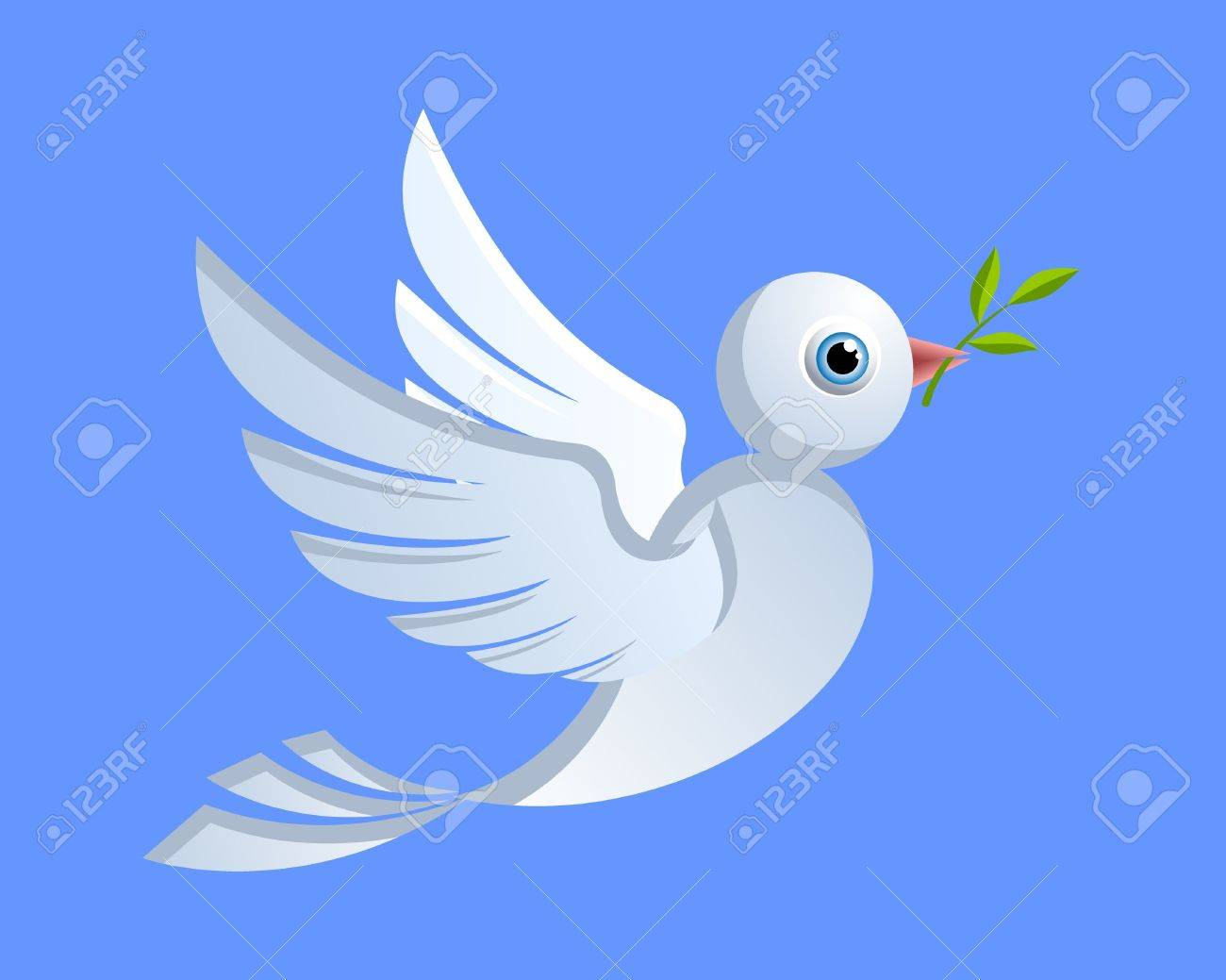 Flying dove of peace with green twig Stock Vector - 12925390