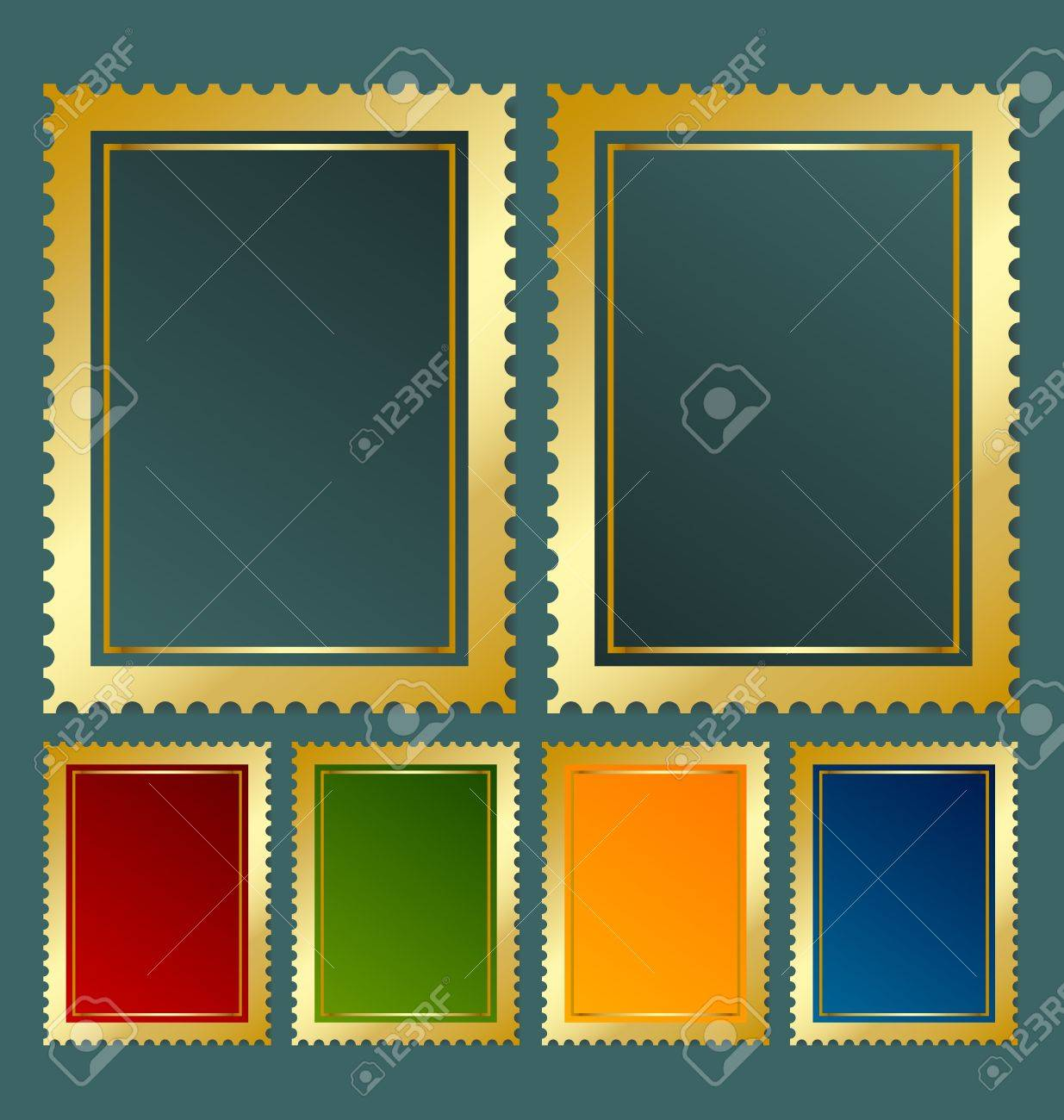 Postage stamp template in various color variations Stock Vector - 12925392