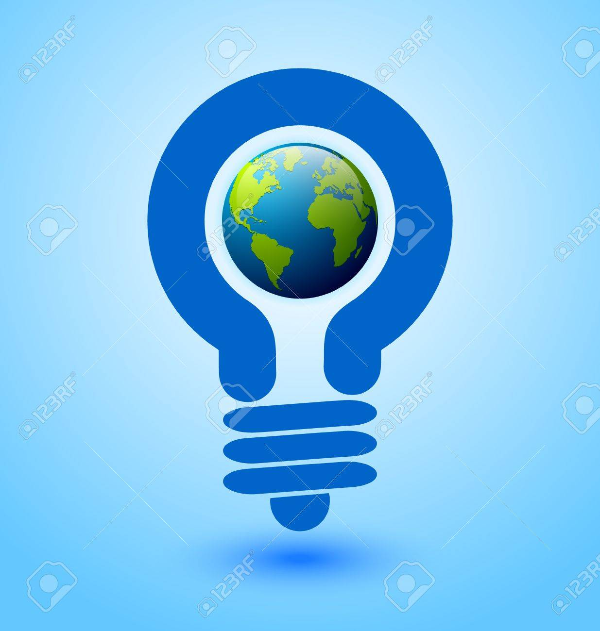 Ecology and saving energy icon with light bulb and planet Earth Stock Vector - 12925399